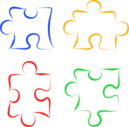Scribble puzzle pieces Vector
