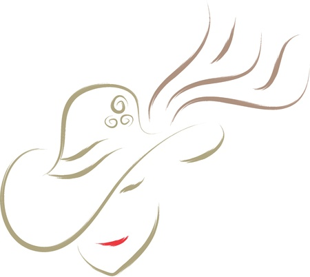 woman with hat sketch Stock Vector - 16135640