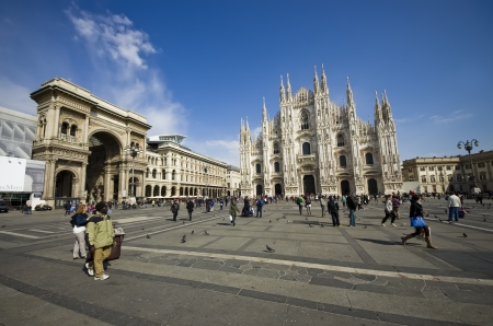 duomo: Milano Dome Square with tourists  Italy