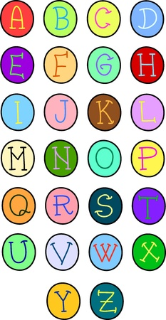 set of alphabet letters in buttons Stock Vector - 16250949