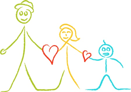 father and son holding hands: sketch of abstract family with love hearts
