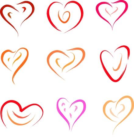 heart set love symbols Stock Vector - 16250954