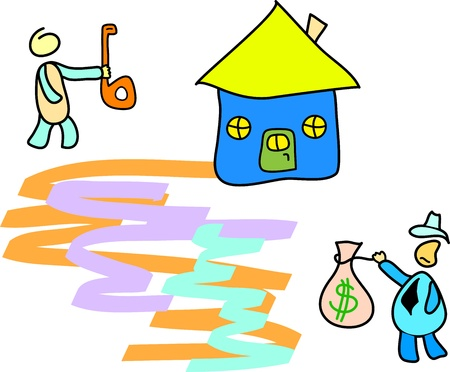 sell house: people buy and sell a house Illustration