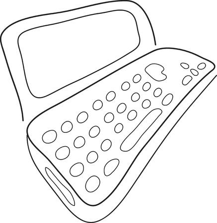 old pc:  sketch of a doodle laptop illustration Illustration