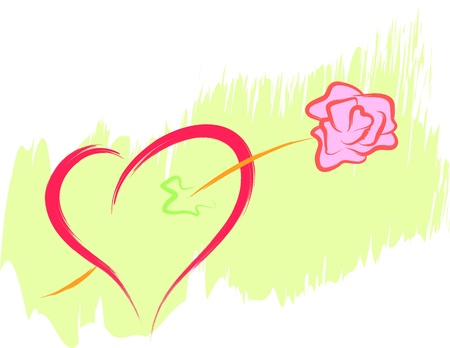 love heart and rose flower Vector