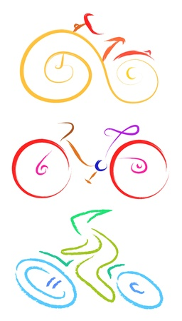 set of bicycle symbol sketch  Vector