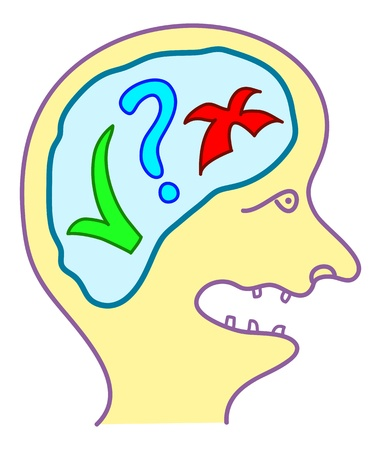 solo form: doodle head with yes or no choice thinking Illustration