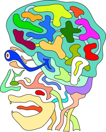 brain clipart: funny vector of doodle abstract head in colors