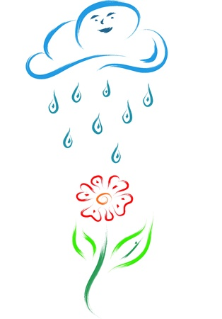 sketch of a flower and a cloud with rain water drops Illustration