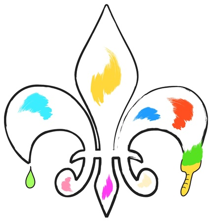 fleur of lis: abstract fleur de lis painting with brush