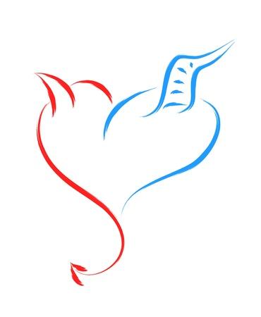 teufel und engel: Gut und Böse Liebe Herz Illustration