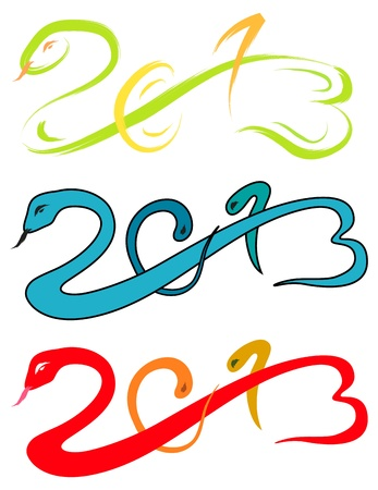 year of the snake: 2013 new year, snake sketch vector illustration
