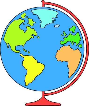desk world globe for education  vector illustration Vector