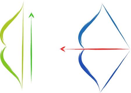 bow and arrow: vector bow and arrow set