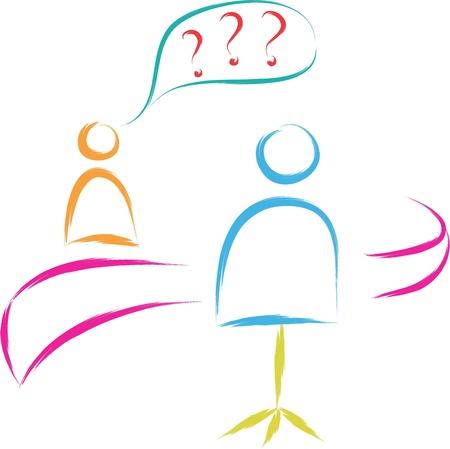 schets van sollicitatiegesprek illustratie