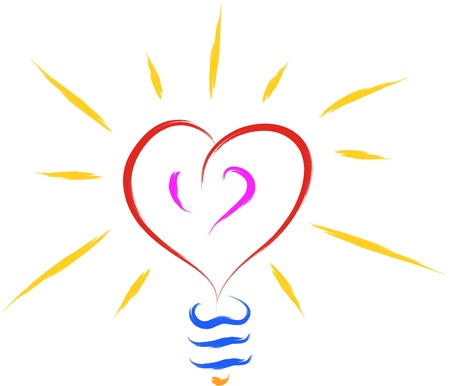 abstract bulb with heart shape in love Stock Vector - 16608978