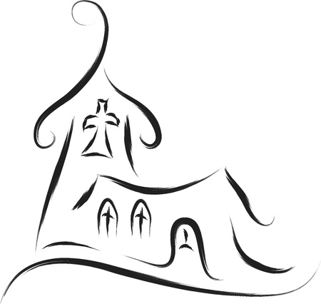 congregation: church abstract sketch drawing style
