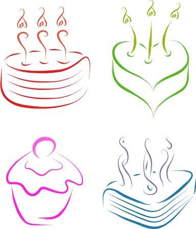 set of 4 cake symbols sketch Vector