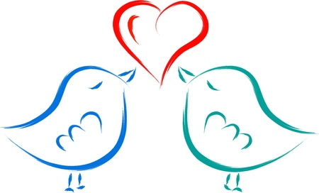 love birds with heart  Vector