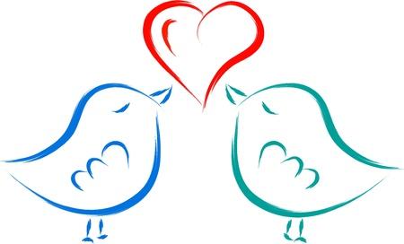 bird fly: love birds with heart