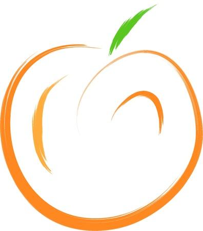 durazno: bosquejo de la fruta melocot�n naranja