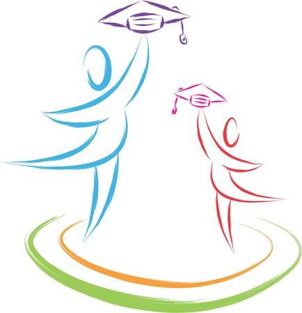 abstract academic: graduation students symbol