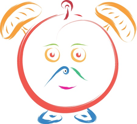 bunny doodle abstract alarm clock vector Stock Vector - 16686489