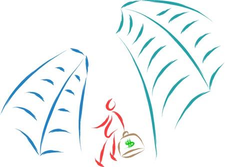ingeniero caricatura: negocios hombre ilustración vectorial abstracto Vectores