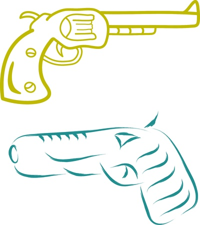 cowboy pistol sketch vector illustration Vector
