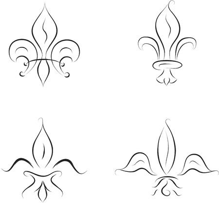 french renaissance: fleur de lys colecci�n, ilustraci�n vectorial Vectores