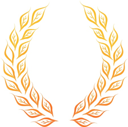 laurel branch: golden laurel wreath vector illustration