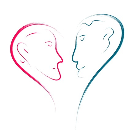 love couple abstract illustration, heart shape  Vector