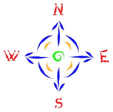 puntos cardinales: bosquejo de la brújula, vector