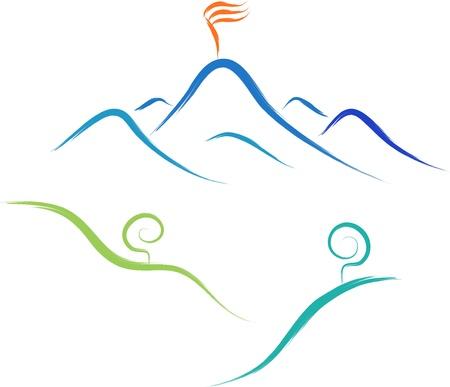 abstract sketch of mountain vector logo