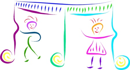logo music: kids playing with musical notes vector