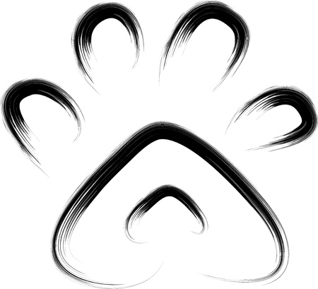 brush sketch of animal paw print  Vector