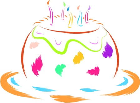 cake topping: colorful birthday cake vector illustration