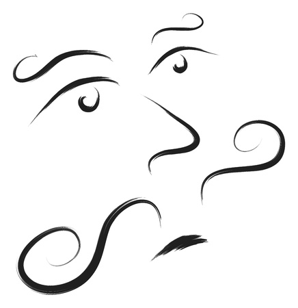 doodle style man face with mustache vector Vector