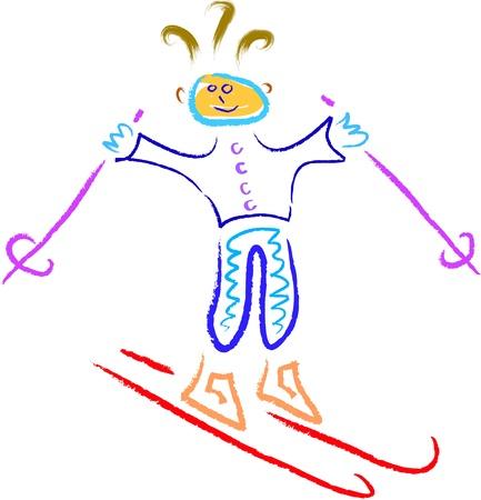 abstract happy skier in winter vector Stock Vector - 16699534