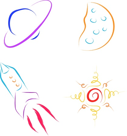 set of abstract space icons vector Stock Vector - 16699539