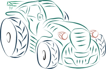 sports tractor abstract illustration sketch  Vector