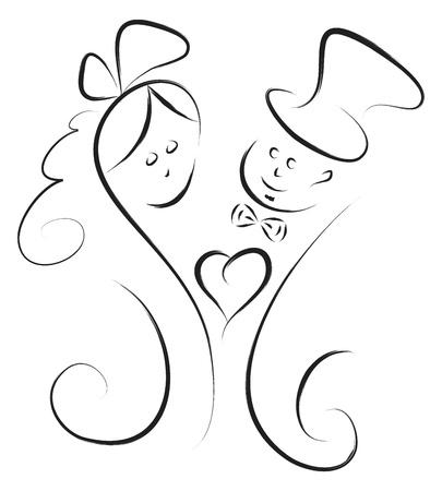 vector wedding couple decoration  Illustration