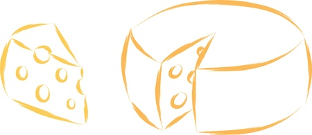 cheese cartoon: round traditional cheese sketch vector illustration
