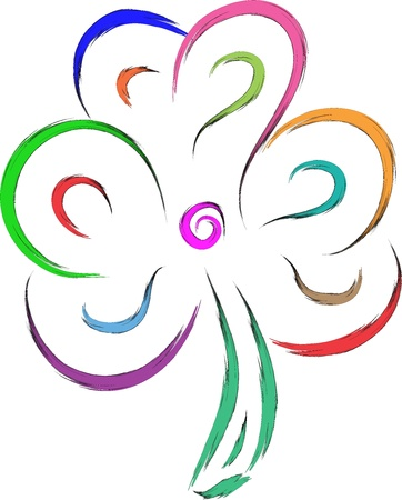 luckiness: abstract shamrock vector sketch illustration in colors