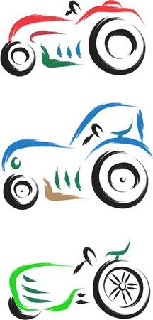 cartoon vintage tractor set vector illustration Stock Vector - 16748104