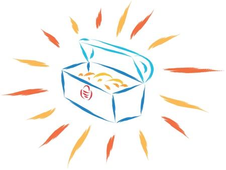 bury: abstract sketch of treasure box vector