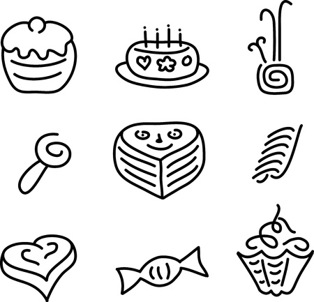 candy and cake set Vector