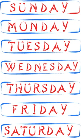 full day: days name of week abstract  illustration