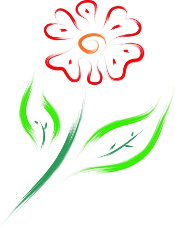 brush drawing style of flower Vector