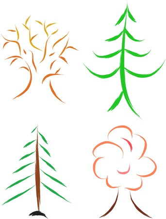set of four trees, sketch   Stock Vector - 16806756